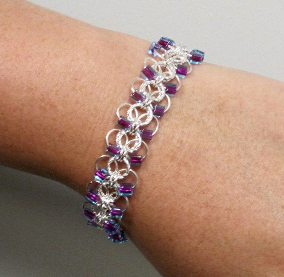 Make A Chain Mail Bracelet: Items Similar To Gwynevere Flat Chain Maille Bracelet On Etsy