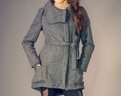 Dark Grey Wool Fully Lined High Neck Winter Coat with Adjustable Sleeve Detail