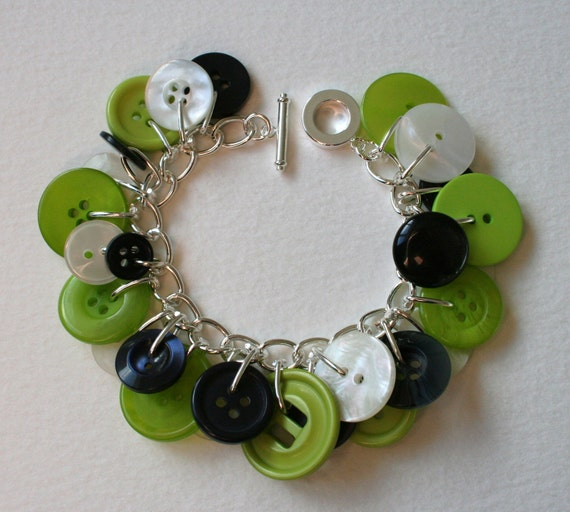 Lime Navy and Pearl Button Charm Bracelet