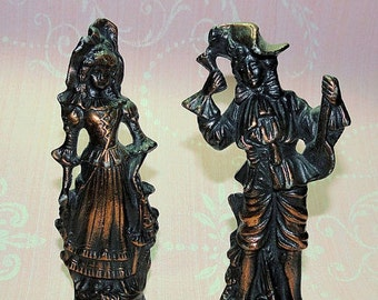 Antique Victorian Figurines, Pair Vintage Lady and Man Figures, Pot Metal Figurines