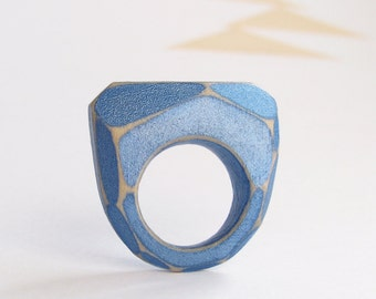 Faceted Wood Ring, Modern Geometric Jewelry, Cornflower Blue, Ring Wooden