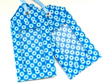 Fabric Luggage Tag Blue White Circles Save the Date Travel Accessories