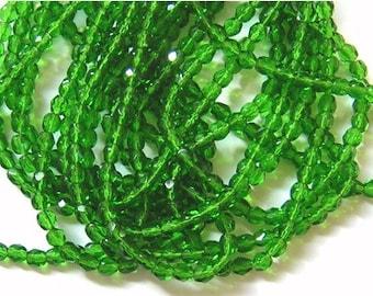 New 100 Faceted Czech Glass Beads SHAMROCK GREEN 4mm