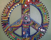 Mosaic Peace Sign Funky Retro Hippie BoHo Wall Art