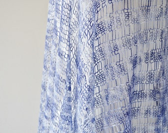 EYRIE Wrap in Navy Sky - Light Lacy Airy Knit Deconstructed Wrap Shawl in Shades of Navy Blue & White Hand Dyed Merino Wool