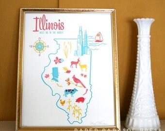 Illinois State Letterpress Print