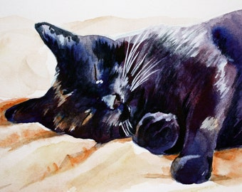 INSTANT DOWNLOAD Sleeping Black Cat painting digital file
