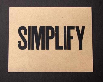 "SIMPLIFY Letterpress Vintage  Wood Type Print--choose Black, White, Blue 11""x14"""