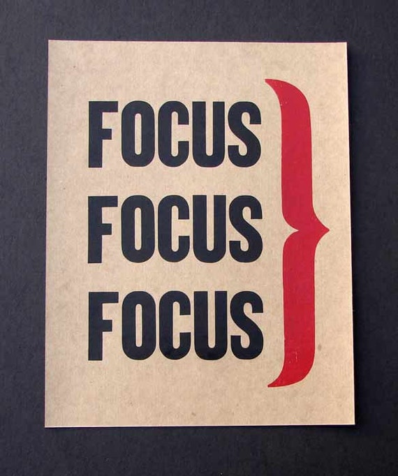 "FOCUS Letterpress Vintage  Wood Type Print--choose Red, Blue or Green 11"" x14"""