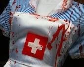 zombie ASYLUM NURSE costume blood splatter dress and apron  halloween candy stripe sexy sizes S M L XL