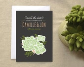 Rustic Succulent Save the Date Card, Boho Southwestern Floral