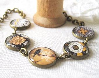 Gold and Gray Glass Cab Antique Brass Bracelet