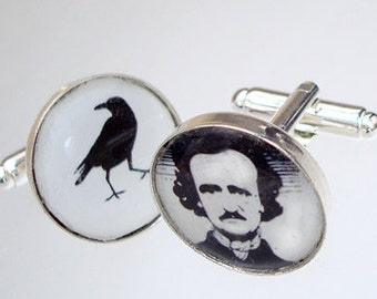 Groomsmen / Poe and Raven / Custom image cufflinks
