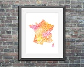 France watercolor typogra...