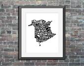 typography map art print ...