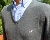 70s vintage golf sweater v-neck SADDLEBRED jumper gray Medium Small preppy grandpa 80s