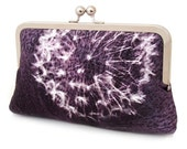 Clutch bag, bridesmaid gift, wedding purse, purple aubergine silk, DANDELION CLOCKS