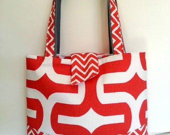 SUPER SALE CottonTote-Coral White Chevron Cotton Duck Ombre Dot-Medium-Gift for Her-Wedding Gift-Bridal Party Gift
