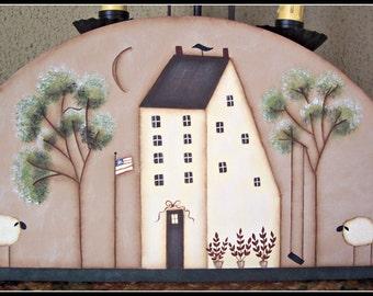 Primitive Spring Saltbox House Door Crown Topper Wood Home Decor