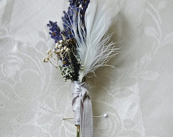 Woodland White Winter Wedding Dried Lavender, White Feathers,  Lichens and Babies Breath wrapped in Dove Gray Satin Ribbon