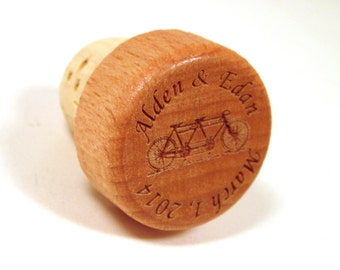 Wood Wine Bottle Stopper Tandem Bicycle - Wedding Gift or Anniversary Gift