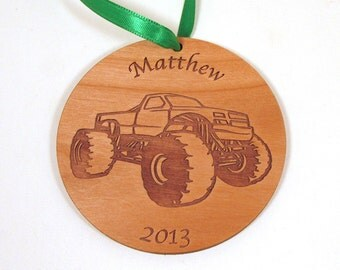 Boy's Christmas Ornament - Personalized Ornament - Monster Truck, Airplane, Train, Tractor, Transportation Theme
