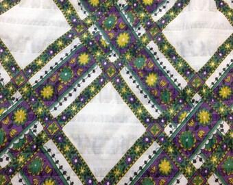 Green Purple Yellow Diamond Print Cotton/Poly Plisse Vintage 1970s  - 2 7/8 Yards - Fabric Yardage / Vintage Yardage / 1970s Fabric