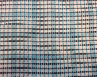 Vintage 1950s Blue Plaid Fabric - 1 7/8 Yards - Fabric Yardage /Woven Fabric /Cotton Fabric /1950s Fabric /1950s Cotton/50s