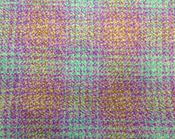 Plaid Fabric Vintage 1970s Purple Blue Gold Poly/Wool - 2 Yards - Fabric Yardage / Vintage Yardage / Wool Fabric / 1970s Fabric / 70s