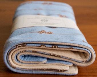 SALE Organic Burp Cloths, Set of Two in MOON; Blue and Chocolate Brown Baby Burp Cloths Gift Set, Modern Organic Flannel Burp Pads Newborn