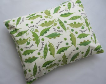 The Perfect Toddler Pillow ...Green Sweet Peas in a Pod on Ivory Flannel ... Original Design by Sew Cinnamon
