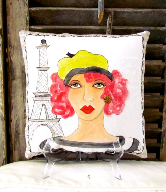 COLETTE FRENCH KISS Pillow, hand painted, French linen, 8 in.  X  8 in., Francophile, Paris lady, Paris, Gift for Francophile, Eiffel Tower