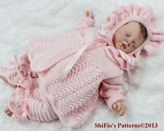 KNITTING PATTERN For Ribbon and Roses Trousers/Pants, Jacket & Bonnet PDF 27 Digital Download