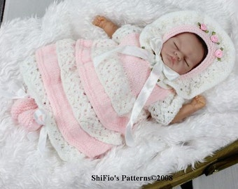 KNITTING PATTERN For Doll Lacey Layers Dress, Hat & Booties in 2 Sizes PDF 94 Digital Download