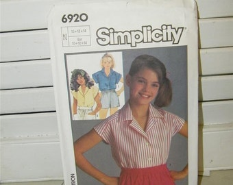 Vintage Simplicity 6920 Shirt Top Pattern Girls Sz 10 12 14 7934