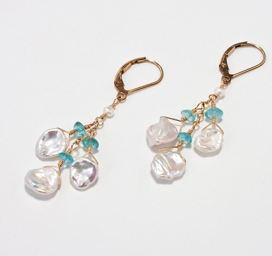 Keshi Pearl Necklace: Keshi Pearl Apatite Earrings Beach Wedding Jewelry Bridal