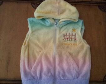 Handmade Wee Baby Bundles, Size 6, Rainbow Furry Fleece Hoodie