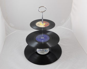 Original Vinyl Record Cupcake and Appetizer Stand