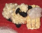 Needle Felting Kit /DIY Craft /Gourmet Felted Kit /Felt a Poseable Miniature Sheep /Felting Needles wool curls  Bonus bell