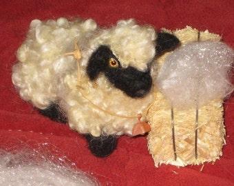 Needle Felting Kit / DIY Craft Kit /  Gourmet Felted Kit /Felt a Poseable Miniature Sheep /Felting Needles / Felting wool curls / Bonus bell