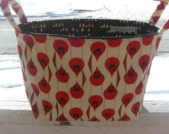Diaper Caddy, Fabric basket, Charley Harper Fabric, Organizer, Cardinals, Red