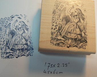 Alice in wonderland with cards flying Rubber Stamp WM 2x2.4 P13