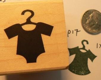P17 Baby shirt on hanger rubber stamp WM