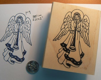 Angel with horn WM Rubber Stamp P19