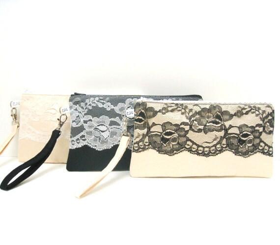 Bridal Bridesmaid Clutch Rectangle Wristlet, Lace on Satin
