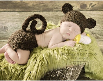 Monkey Hat Crochet Furry Monkey Hat and diaper set newborn Baby animal hat  photography prop shower gift MADE TO ORDER