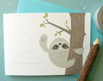 Friendly Sloth in Tree Note Card
