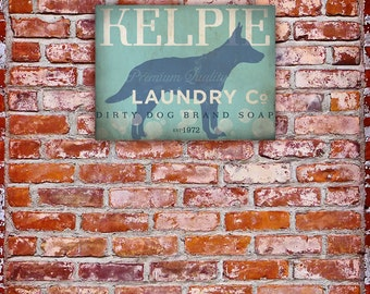 Kelpie Laundry Company illustration graphic art on gallery wrapped canvas by stephen fowler
