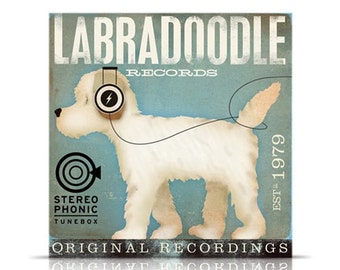 Labradoodle dog Records original graphic art giclee archival print by stephen fowler