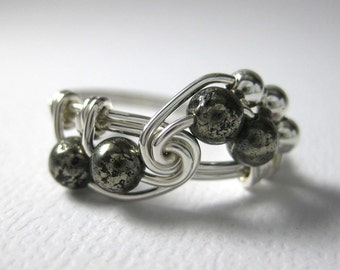 Math Ring Wire Wrapped Ring Pyrite and Sterling Silver Fibonacci Math Jewelry